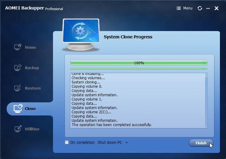 Transfer Windows 7 to New Hard Drive with AOMEI Backupper 4.6.3 4