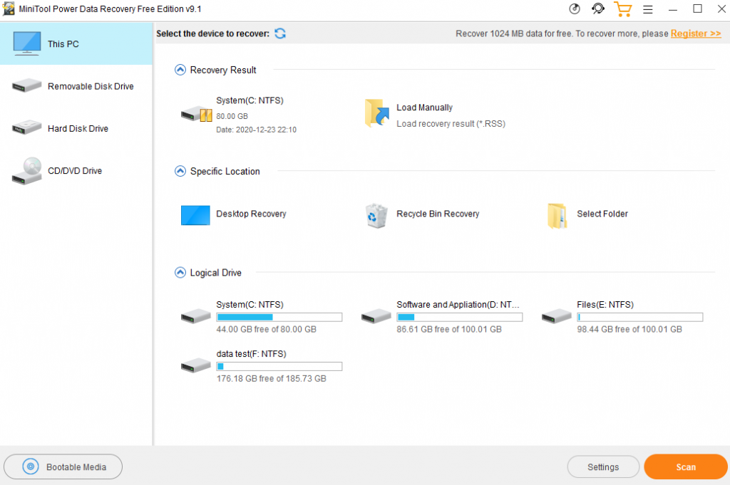 MiniTool Power Data Recovery Can Help Recover Data From SSD 5